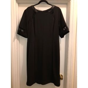 Taylor Plus Size Pleather and Lace Cocktail Dress